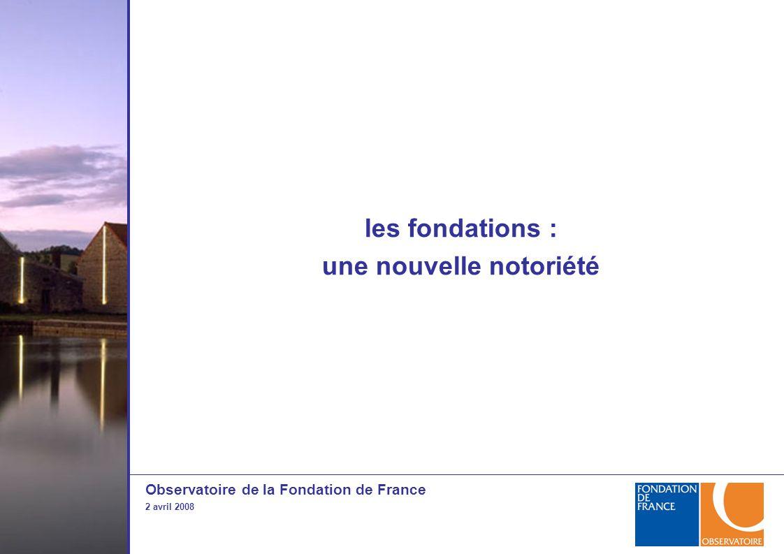 Observatoire de la Fondation de France 2 avril 2008 les fondations : une nouvelle notoriété