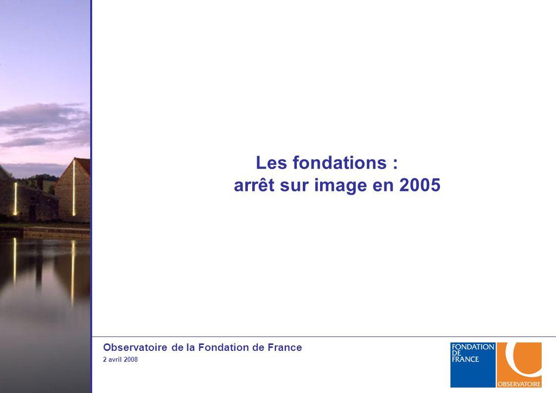 Observatoire de la Fondation de France 2 avril 2008 Les fondations : arrêt sur image en 2005