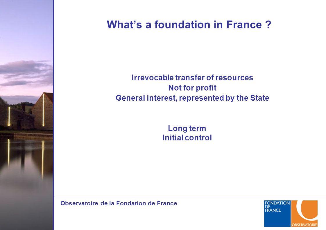 Observatoire de la Fondation de France What's a foundation in France .
