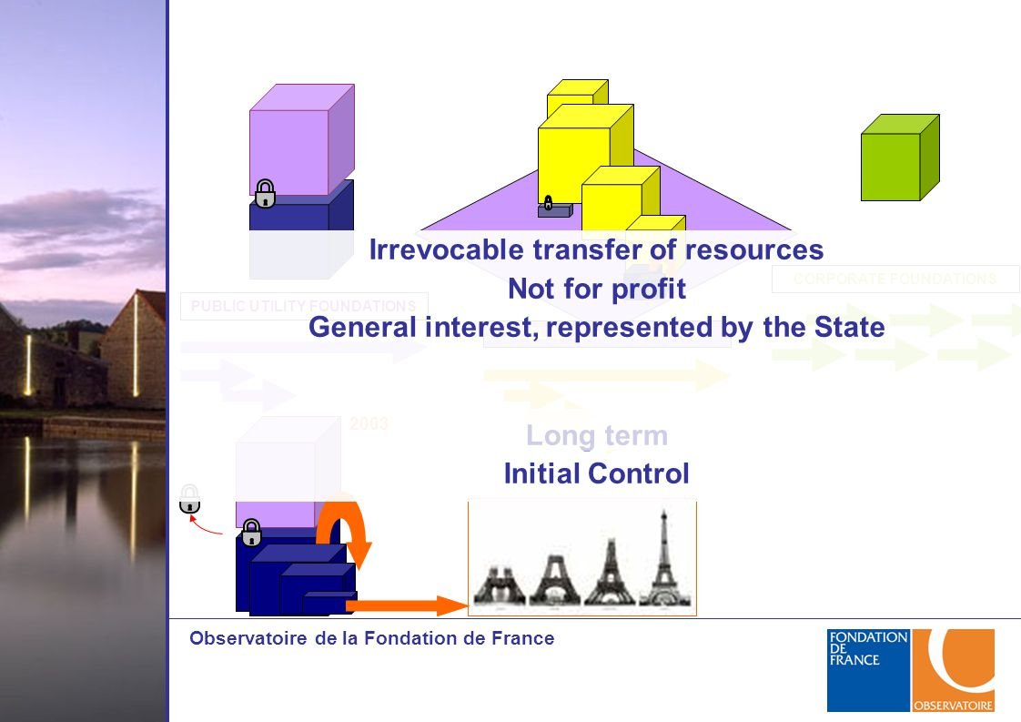 Observatoire de la Fondation de France PUBLIC UTILITY FOUNDATIONS SHELTERED FOUNDATIONS CORPORATE FOUNDATIONS 2003 Irrevocable transfer of resources N