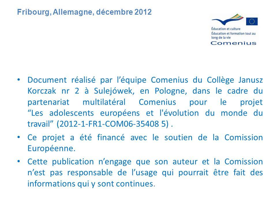 Document réalisé par l'équipe Comenius du Collège Janusz Korczak nr 2 à Sulejówek, en Pologne, dans le cadre du partenariat multilatéral Comenius pour le projet Les adolescents européens et l évolution du monde du travail (2012-1-FR1-COM06-35408 5).
