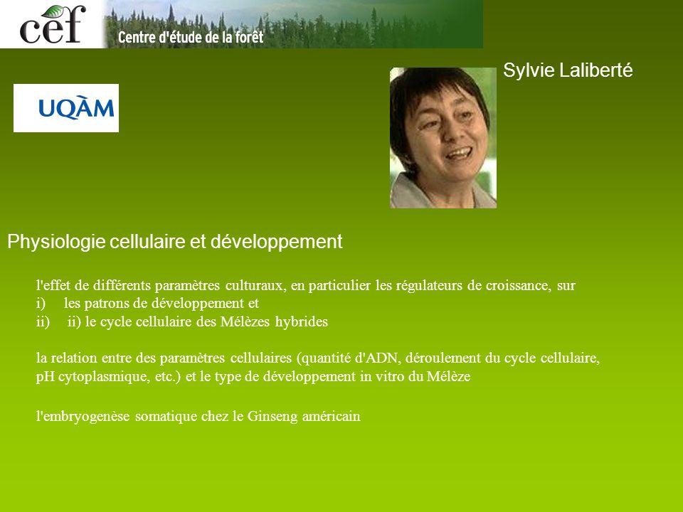 Sylvie Laliberté Physiologie cellulaire et développement l'effet de différents paramètres culturaux, en particulier les régulateurs de croissance, sur