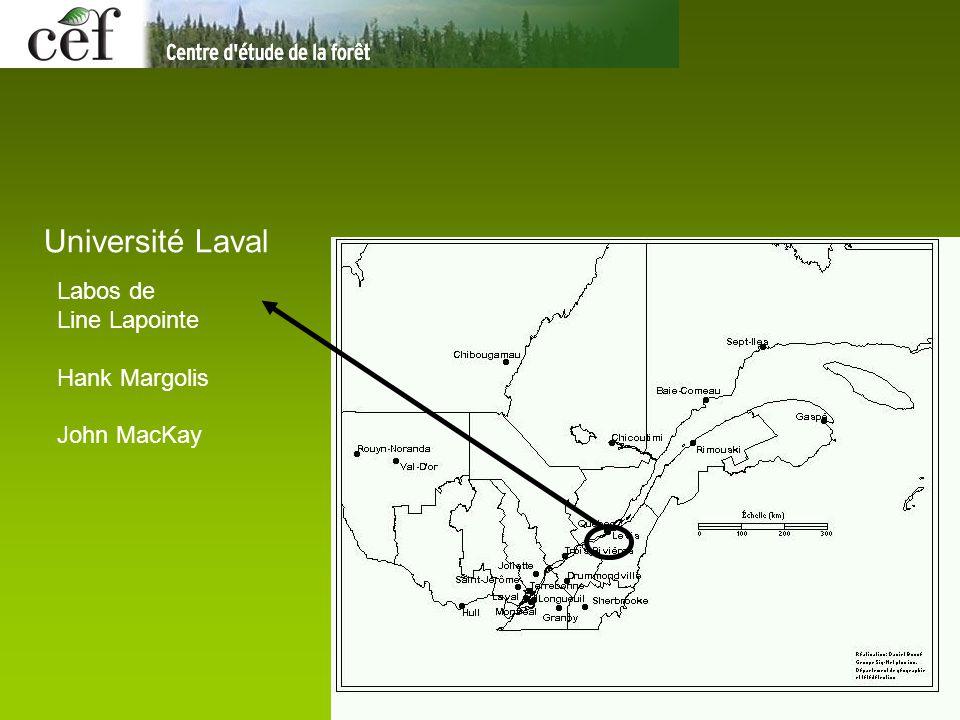 Université Laval Labos de Line Lapointe Hank Margolis John MacKay