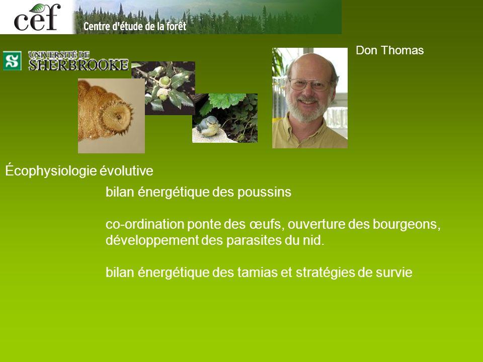 Don Thomas Écophysiologie évolutive bilan énergétique des poussins co-ordination ponte des œufs, ouverture des bourgeons, développement des parasites