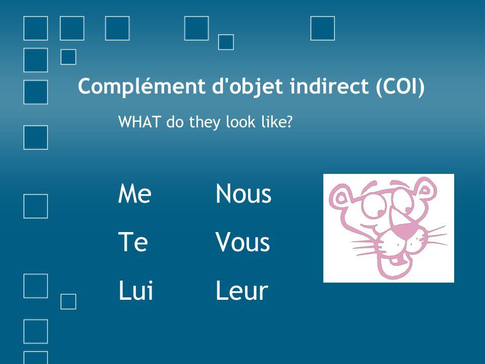 Complément d objet indirect (COI) WHAT do they look like? MeNous TeVous LuiLeur