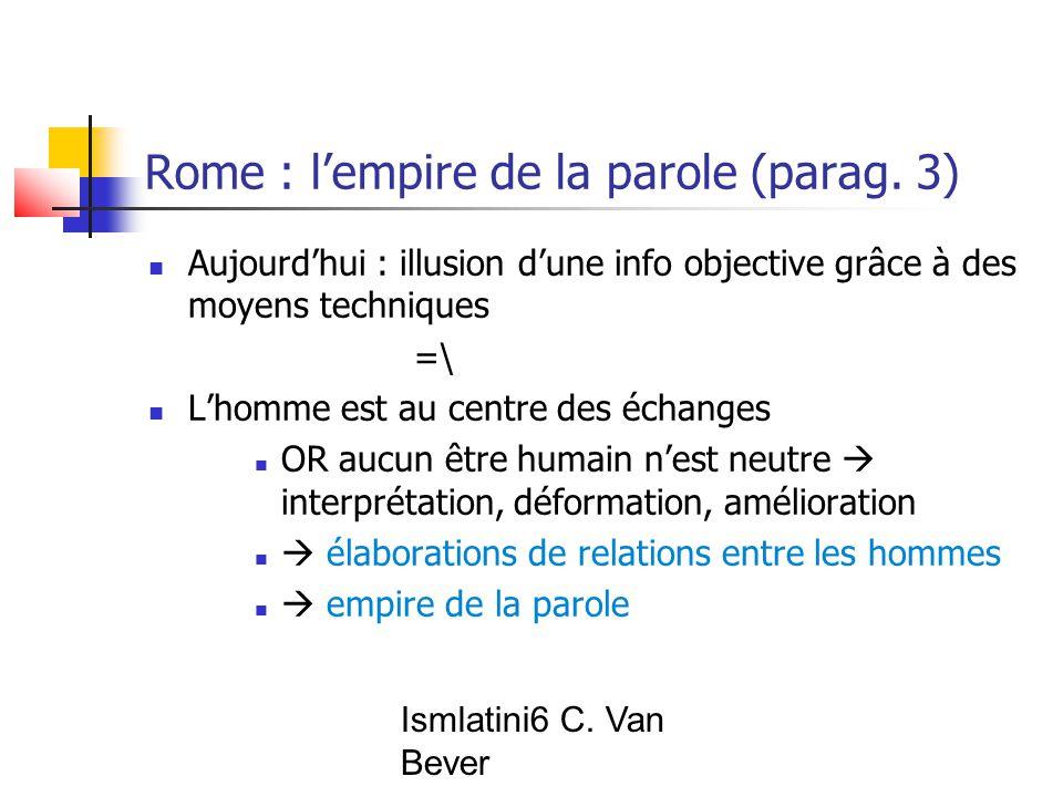 Ismlatini6 C. Van Bever Rome : l'empire de la parole (parag.