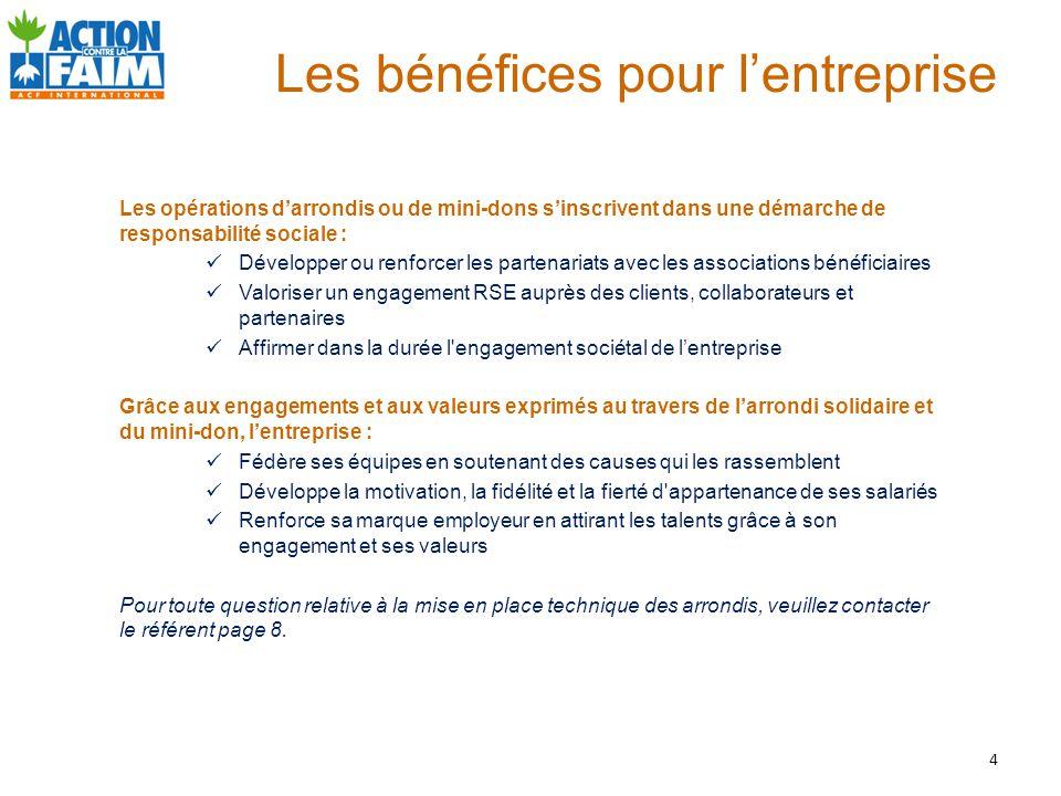 Les bénéfices pour l'entreprise Les opérations d'arrondis ou de mini-dons s'inscrivent dans une démarche de responsabilité sociale : Développer ou ren