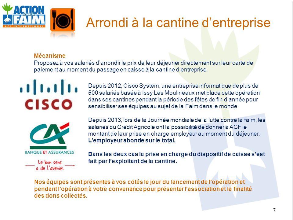 Depuis 2012, Cisco System, une entreprise informatique de plus de 500 salariés basée à Issy Les Moulineaux met place cette opération dans ses cantines