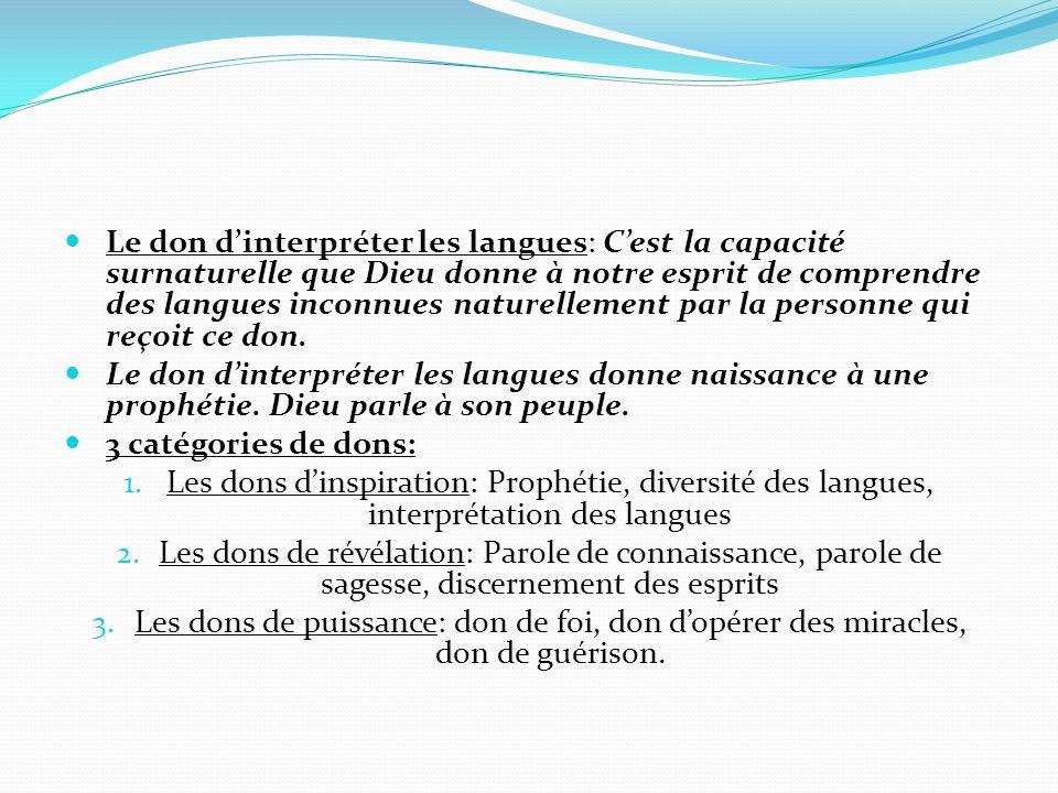 Le don d'interpréter les langues: C'est la capacité surnaturelle que Dieu donne à notre esprit de comprendre des langues inconnues naturellement par l
