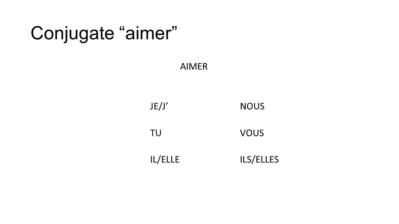 Aimer AIMER J'AIMENOUS AIMONS TU AIMESVOUS AIMEZ IL/ELLE AIMEILS/ELLES AIMENT