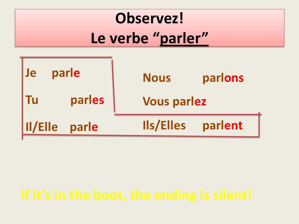 To conjugate a regular -er verb you need: Je Tu Il/elle Nous Vous Ils/elles - e - es - e - ons - ez - ent subjectstem Take the –er off the infinitive For example: écouter stem=écout ending + + ++