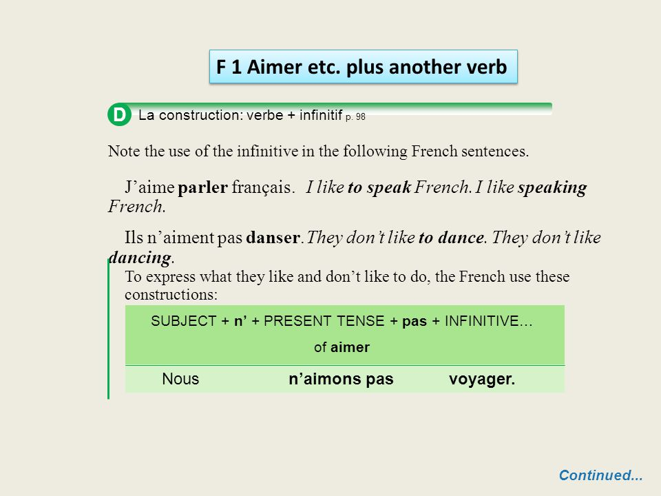 D La construction: verbe + infinitif p. 98 Note the use of the infinitive in the following French sentences. J'aime parler français. I like to speak F