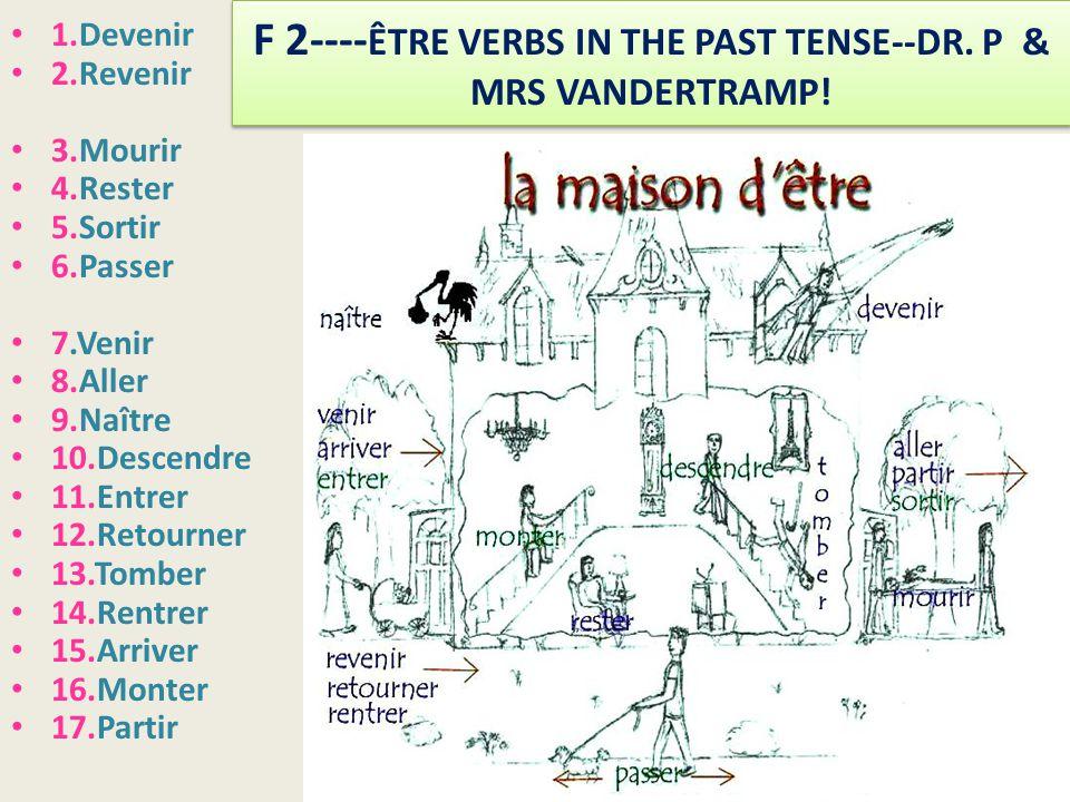 F 2---- ÊTRE VERBS IN THE PAST TENSE--DR.P & MRS VANDERTRAMP.