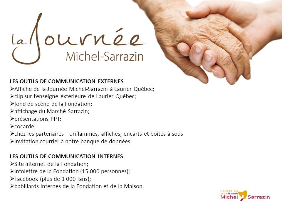 LES OUTILS DE COMMUNICATION EXTERNES  Affiche de la Journée Michel-Sarrazin à Laurier Québec;  clip sur l'enseigne extérieure de Laurier Québec;  f
