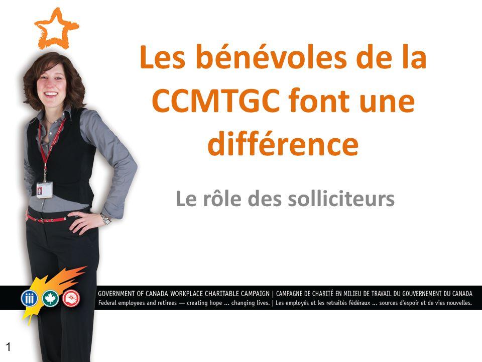 Les bénévoles de la CCMTGC font une différence Le rôle des solliciteurs 1