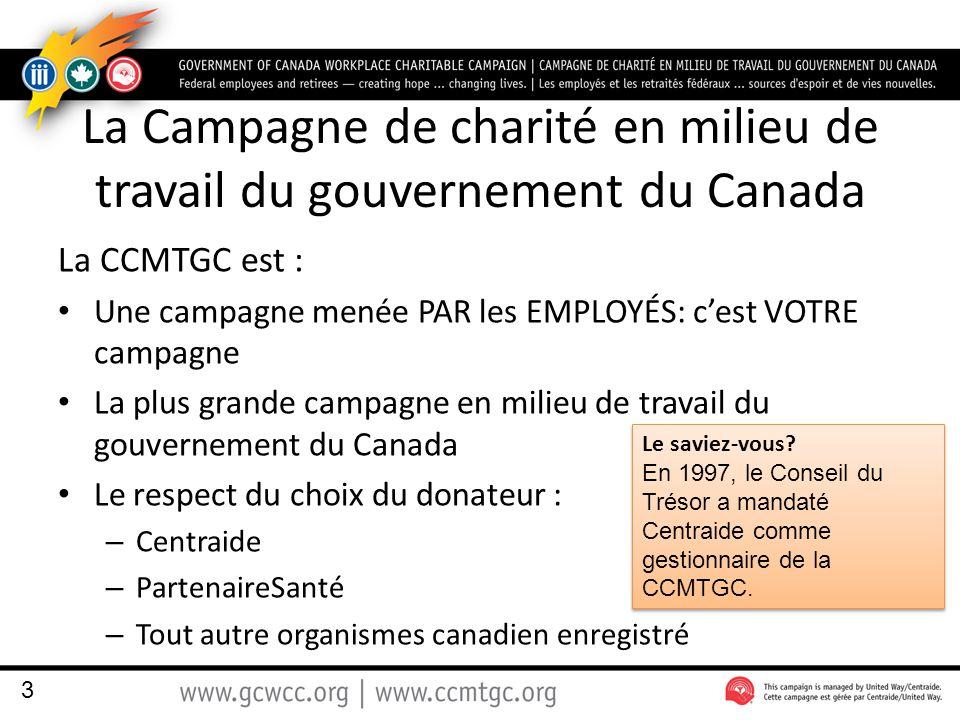 La Campagne de charité en milieu de travail du gouvernement du Canada La CCMTGC est : Une campagne menée PAR les EMPLOYÉS: c'est VOTRE campagne La plu