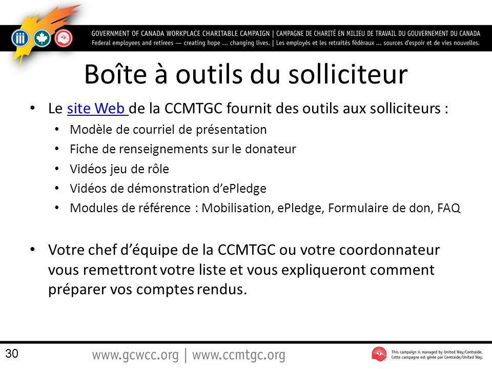 Boîte à outils du solliciteur Le site Web de la CCMTGC fournit des outils aux solliciteurs :site Web Modèle de courriel de présentation Fiche de rense