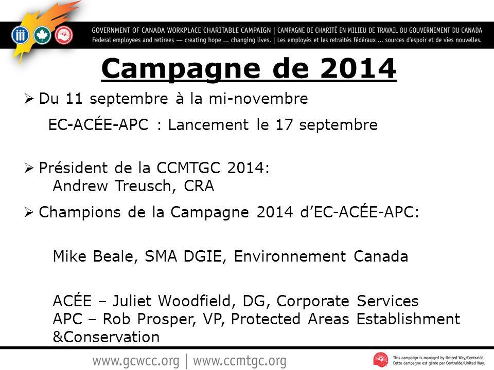 Campagne de 2014  Du 11 septembre à la mi-novembre EC-ACÉE-APC : Lancement le 17 septembre  Président de la CCMTGC 2014: Andrew Treusch, CRA  Champ