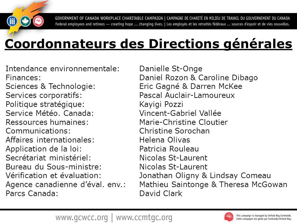 Coordonnateurs des Directions générales Intendance environnementale: Danielle St-Onge Finances: Daniel Rozon & Caroline Dibago Sciences & Technologie: