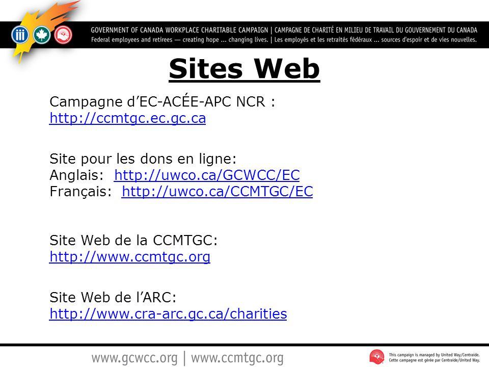 Sites Web Campagne d'EC-ACÉE-APC NCR : http://ccmtgc.ec.gc.ca http://ccmtgc.ec.gc.ca Site pour les dons en ligne: Anglais: http://uwco.ca/GCWCC/EC Fra