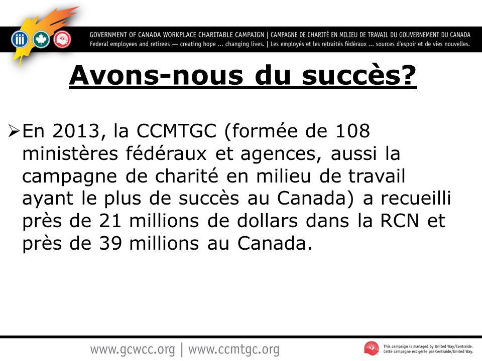 Avons-nous du succès?  En 2013, la CCMTGC (formée de 108 ministères fédéraux et agences, aussi la campagne de charité en milieu de travail ayant le p