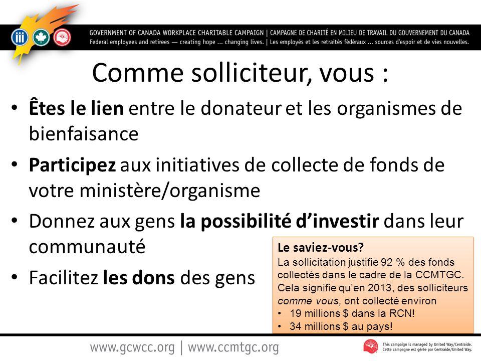 Comme solliciteur, vous : Êtes le lien entre le donateur et les organismes de bienfaisance Participez aux initiatives de collecte de fonds de votre mi