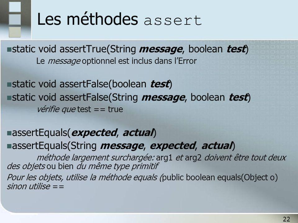 22 Les méthodes assert static void assertTrue(String message, boolean test) Le message optionnel est inclus dans l'Error static void assertFalse(boole