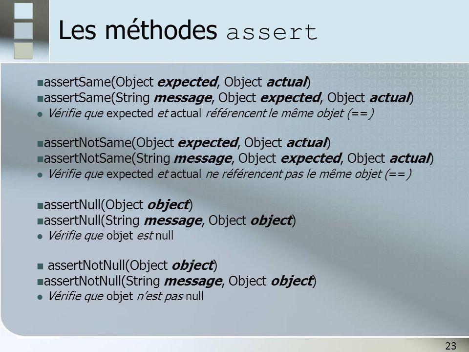 23 Les méthodes assert assertSame(Object expected, Object actual) assertSame(String message, Object expected, Object actual) Vérifie que expected et a