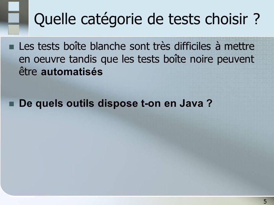 5 Quelle catégorie de tests choisir ? Les tests boîte blanche sont très difficiles à mettre en oeuvre tandis que les tests boîte noire peuvent être au