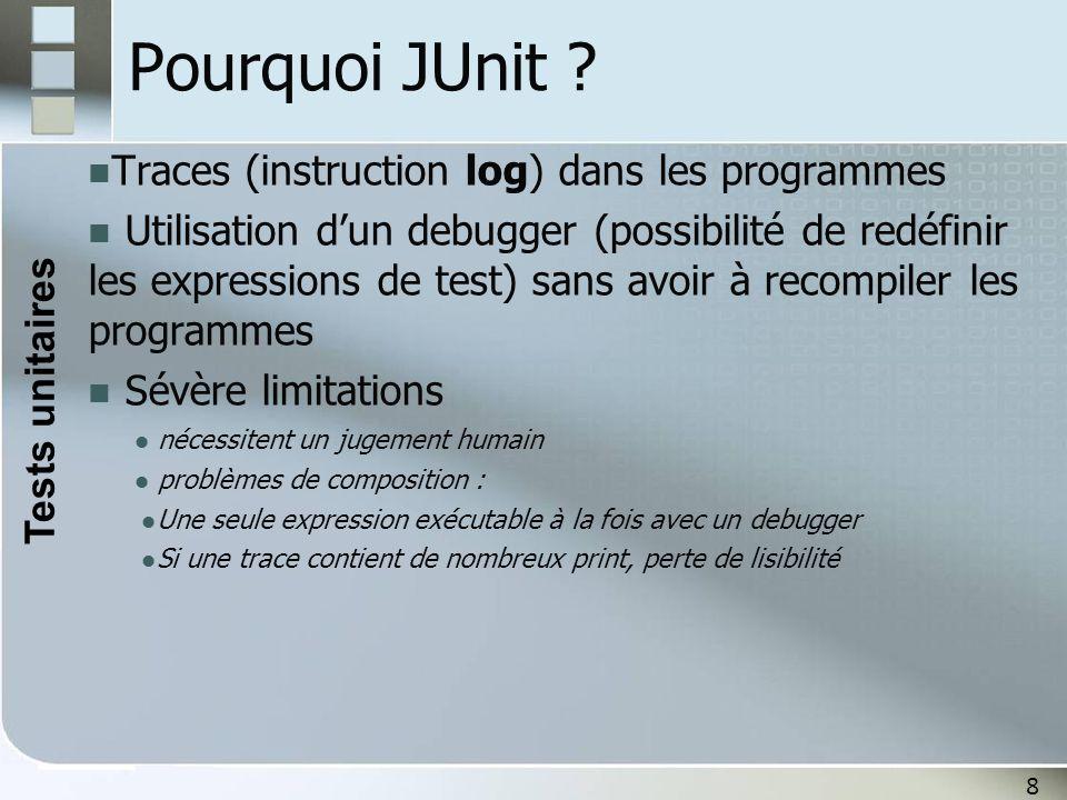 8 Pourquoi JUnit ? Traces (instruction log) dans les programmes Utilisation d'un debugger (possibilité de redéfinir les expressions de test) sans avoi