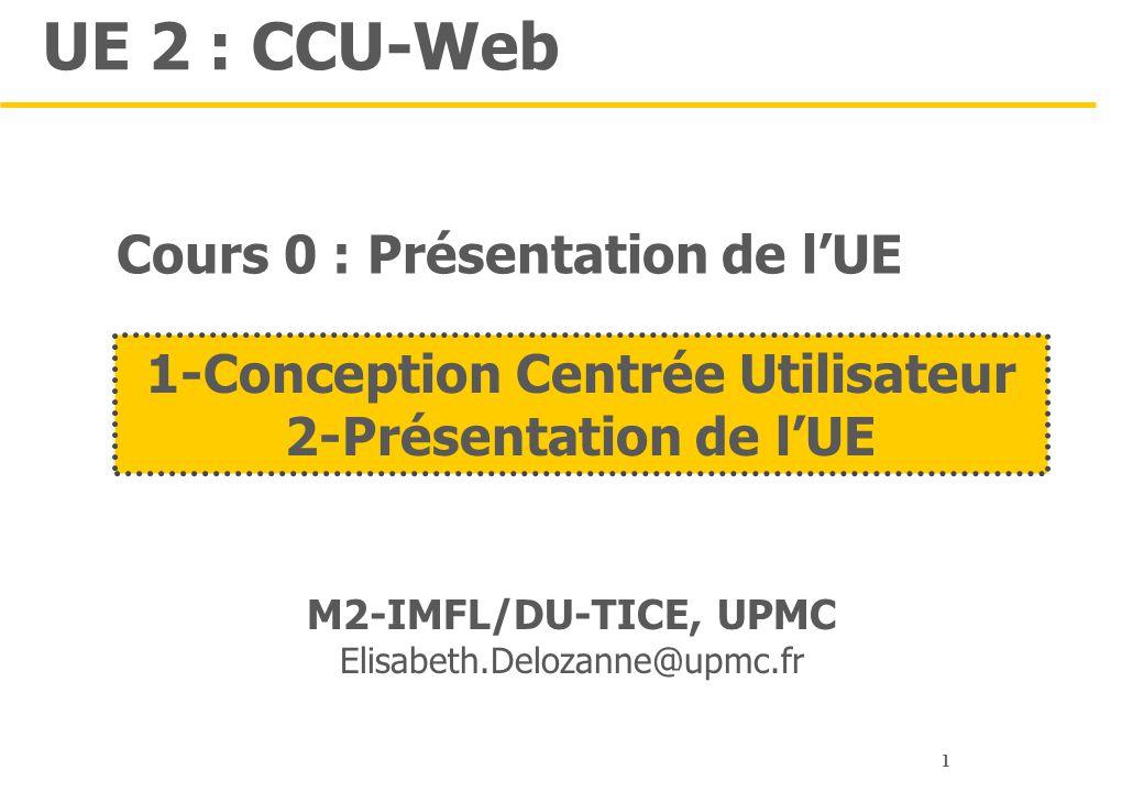 1 UE 2 : CCU-Web M2-IMFL/DU-TICE, UPMC Elisabeth.Delozanne@upmc.fr 1-Conception Centrée Utilisateur 2-Présentation de l'UE Cours 0 : Présentation de l