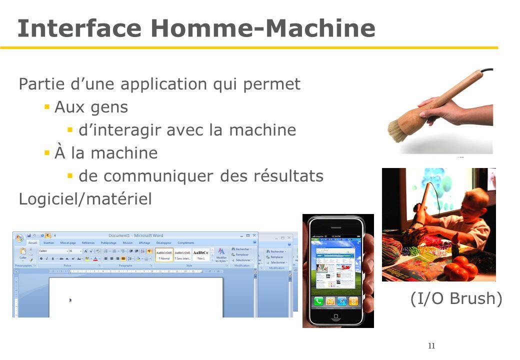 11 Interface Homme-Machine Partie d'une application qui permet  Aux gens  d'interagir avec la machine  À la machine  de communiquer des résultats