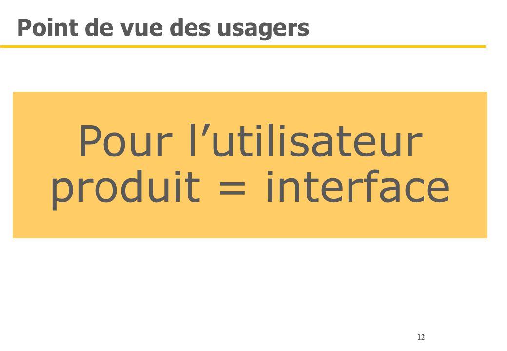 12 Point de vue des usagers Pour l'utilisateur produit = interface