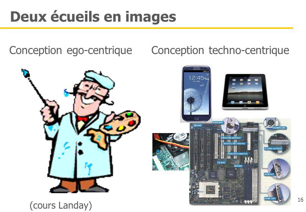 16 Conception techno-centrique 16 Deux écueils en images Conception ego-centrique (cours Landay)
