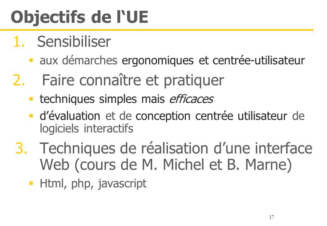 17 Objectifs de l'UE 1.Sensibiliser  aux démarches ergonomiques et centrée-utilisateur 2. Faire connaître et pratiquer  techniques simples mais effi