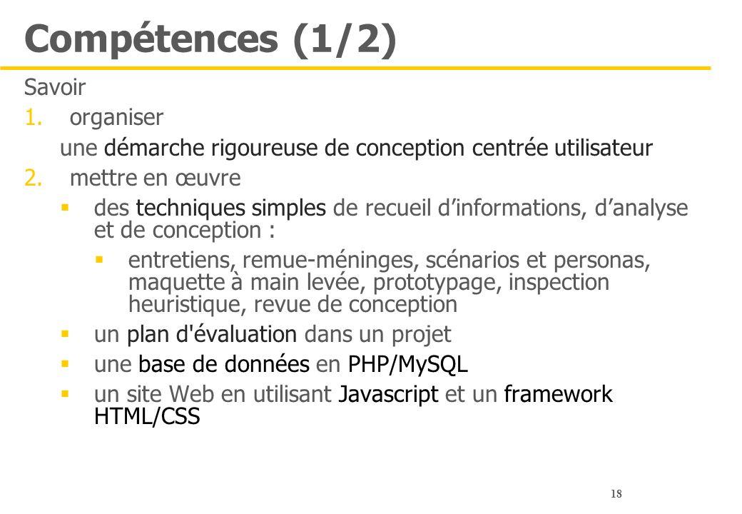 18 Compétences (1/2) Savoir 1.organiser une démarche rigoureuse de conception centrée utilisateur 2.mettre en œuvre  des techniques simples de recuei
