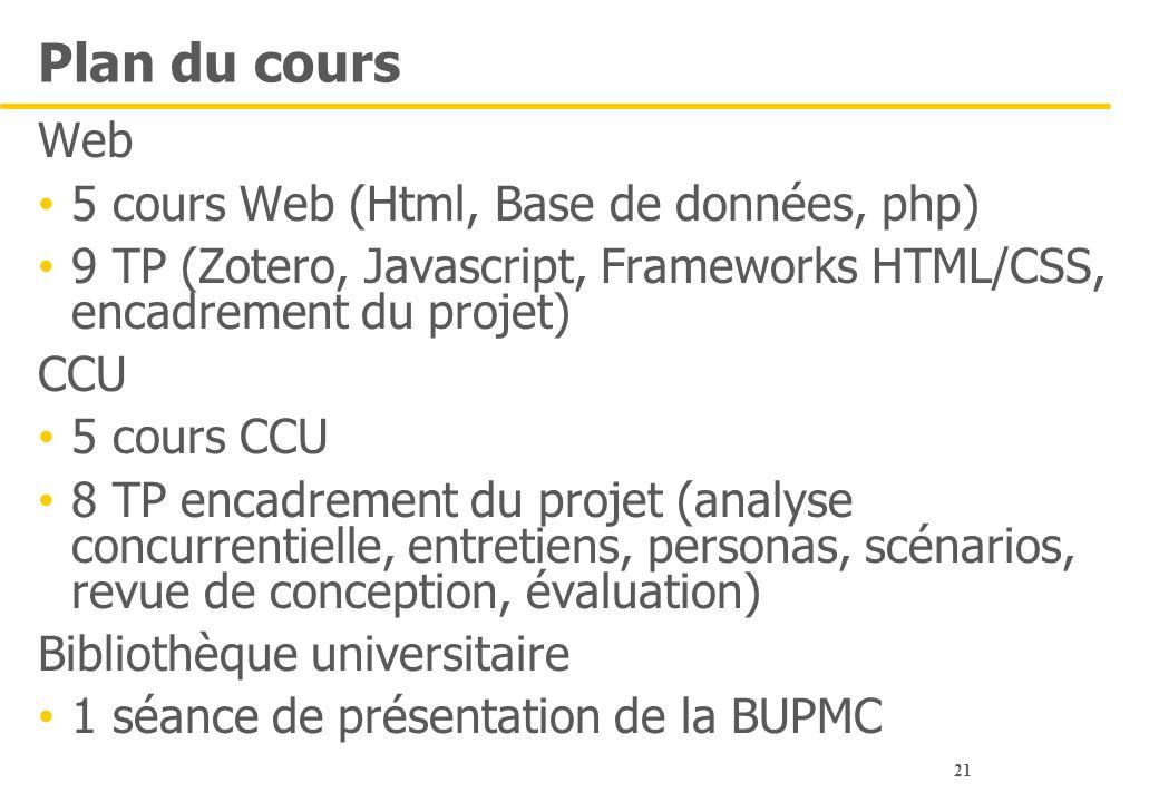 21 Plan du cours Web 5 cours Web (Html, Base de données, php) 9 TP (Zotero, Javascript, Frameworks HTML/CSS, encadrement du projet) CCU 5 cours CCU 8