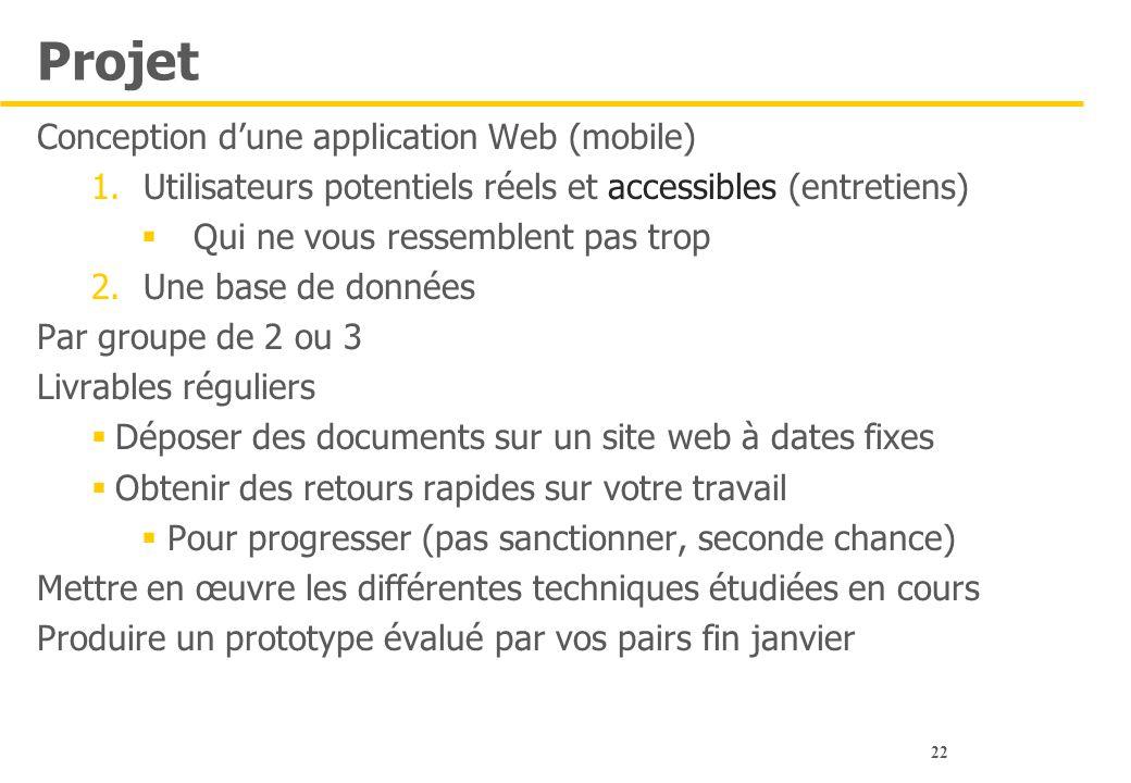 22 Projet Conception d'une application Web (mobile) 1.Utilisateurs potentiels réels et accessibles (entretiens)  Qui ne vous ressemblent pas trop 2.U