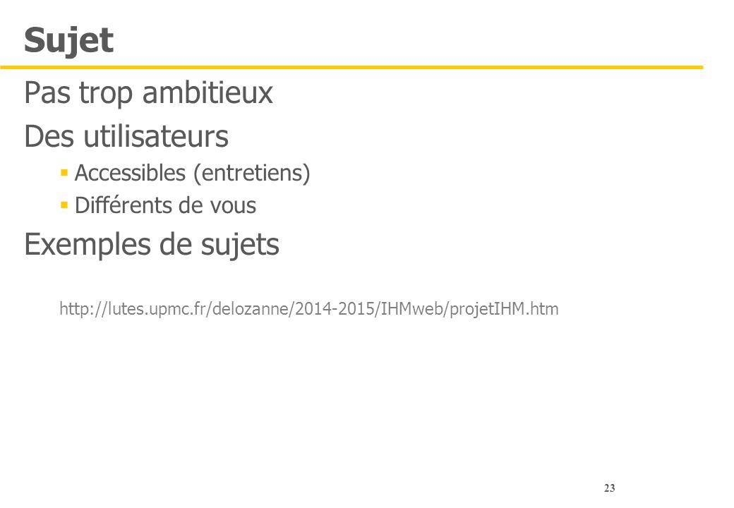 23 Sujet Pas trop ambitieux Des utilisateurs  Accessibles (entretiens)  Différents de vous Exemples de sujets http://lutes.upmc.fr/delozanne/2014-20