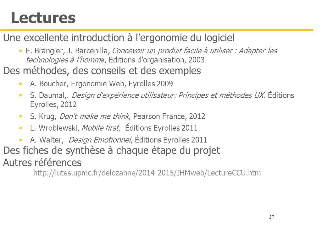 27 Lectures Une excellente introduction à l'ergonomie du logiciel  E. Brangier, J. Barcenilla, Concevoir un produit facile à utiliser : Adapter les t