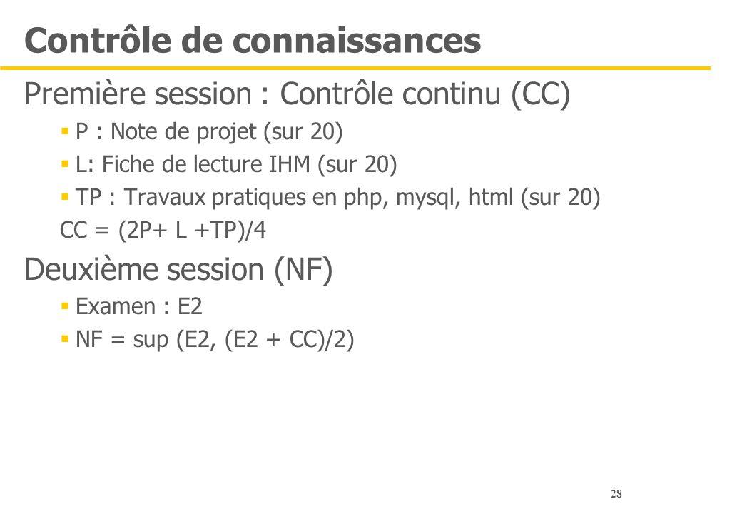 28 Contrôle de connaissances Première session : Contrôle continu (CC)  P : Note de projet (sur 20)  L: Fiche de lecture IHM (sur 20)  TP : Travaux