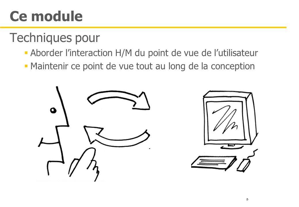 8 Ce module Techniques pour  Aborder l'interaction H/M du point de vue de l'utilisateur  Maintenir ce point de vue tout au long de la conception