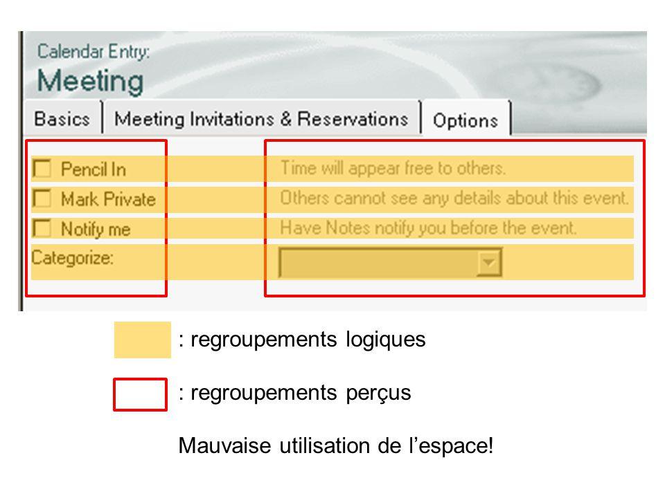 : regroupements logiques : regroupements perçus Mauvaise utilisation de l'espace!