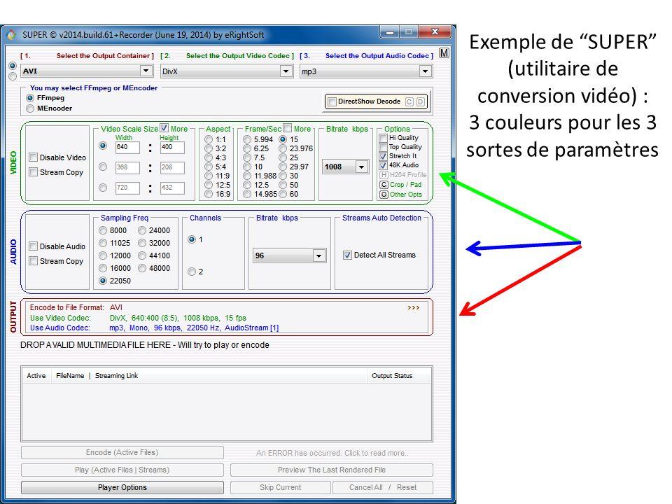"""Exemple de """"SUPER"""" (utilitaire de conversion vidéo) : 3 couleurs pour les 3 sortes de paramètres"""