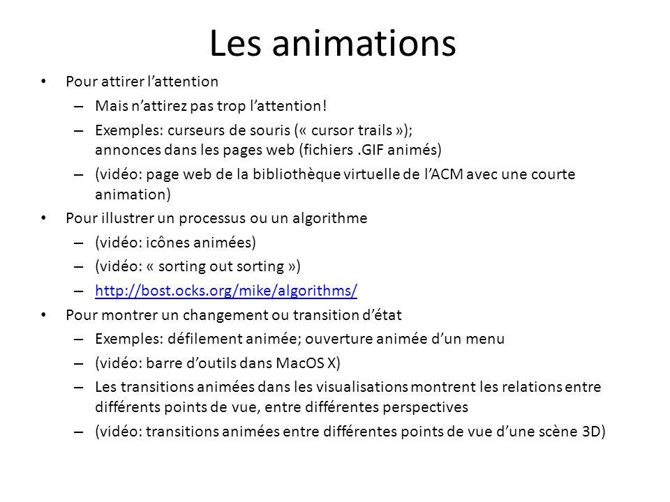 Les animations Pour attirer l'attention – Mais n'attirez pas trop l'attention! – Exemples: curseurs de souris (« cursor trails »); annonces dans les p