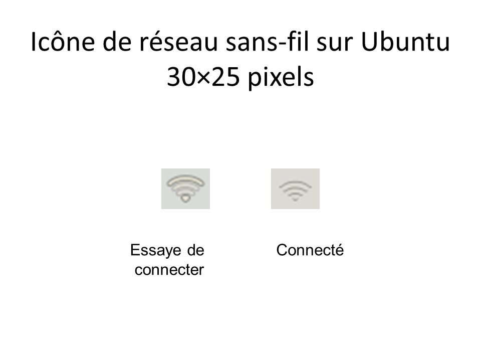 Icône de réseau sans-fil sur Ubuntu 30×25 pixels ConnectéEssaye de connecter