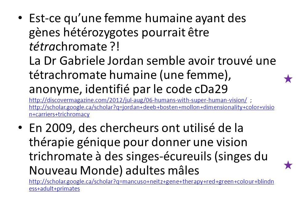 Est-ce qu'une femme humaine ayant des gènes hétérozygotes pourrait être tétrachromate ?! La Dr Gabriele Jordan semble avoir trouvé une tétrachromate h