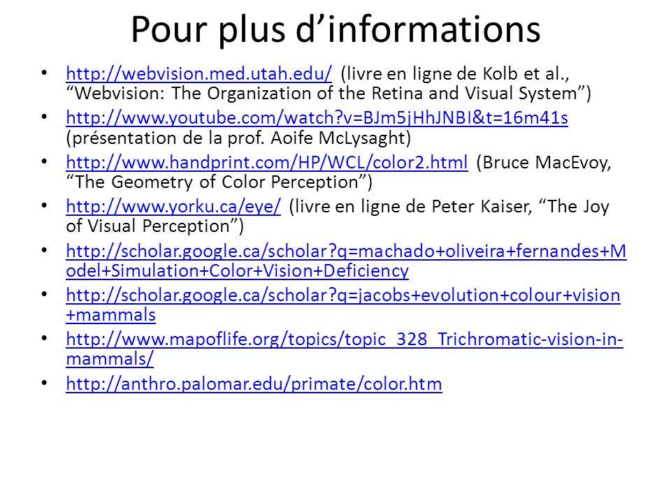 "Pour plus d'informations http://webvision.med.utah.edu/ (livre en ligne de Kolb et al., ""Webvision: The Organization of the Retina and Visual System"")"