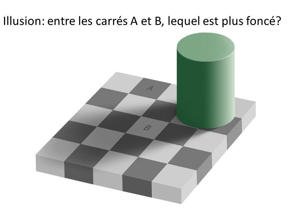 Illusion: entre les carrés A et B, lequel est plus foncé?