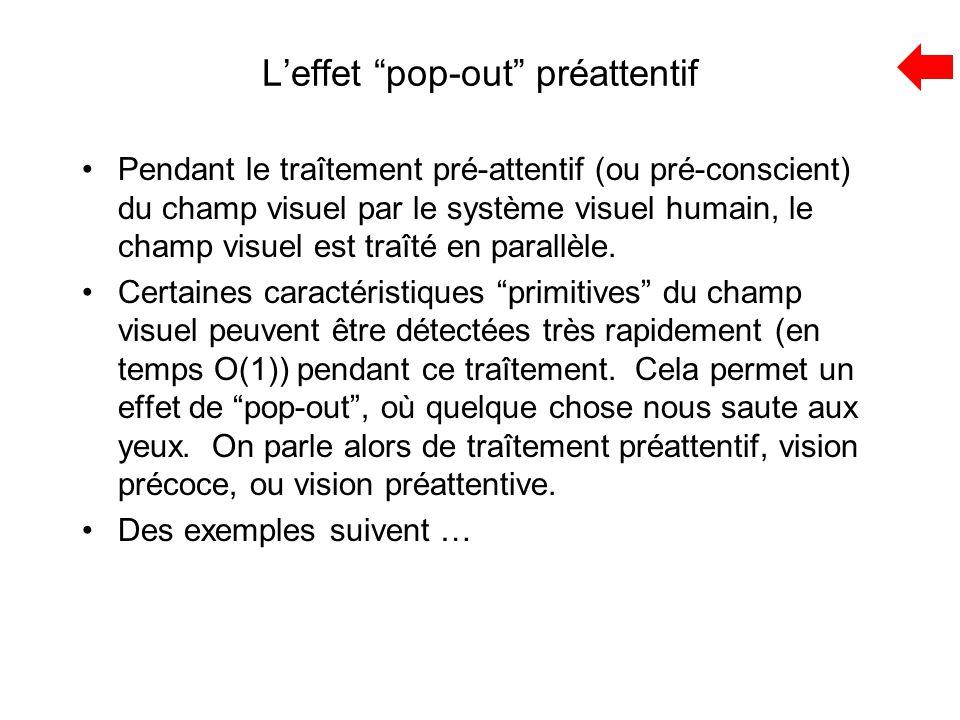 """L'effet """"pop-out"""" préattentif Pendant le traîtement pré-attentif (ou pré-conscient) du champ visuel par le système visuel humain, le champ visuel est"""